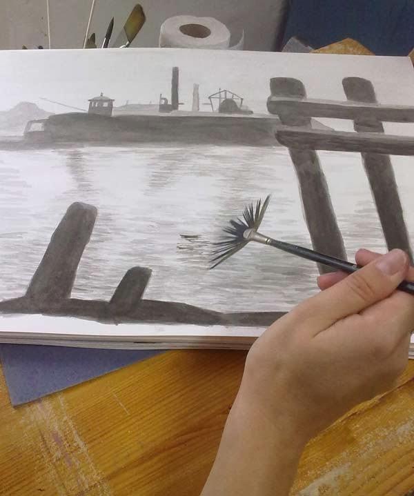 detalle del proceso de marina con tinta china