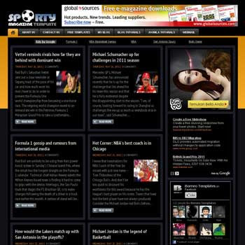 Sporty Magazine 3 blogger template with featured content template and 5 column footer template. blog magazine template blogspot