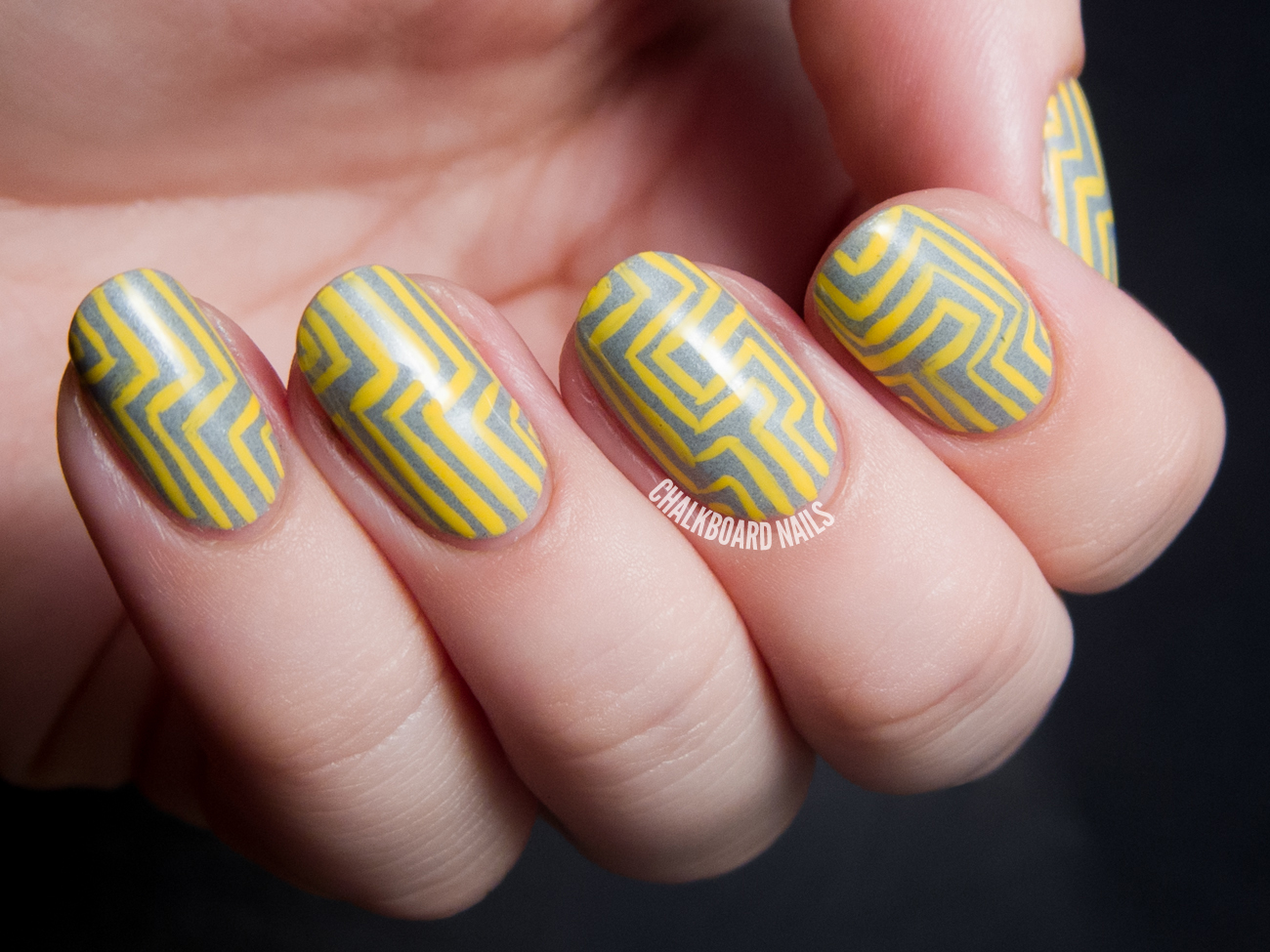 Yellow maze nail art by @chalkboardnails