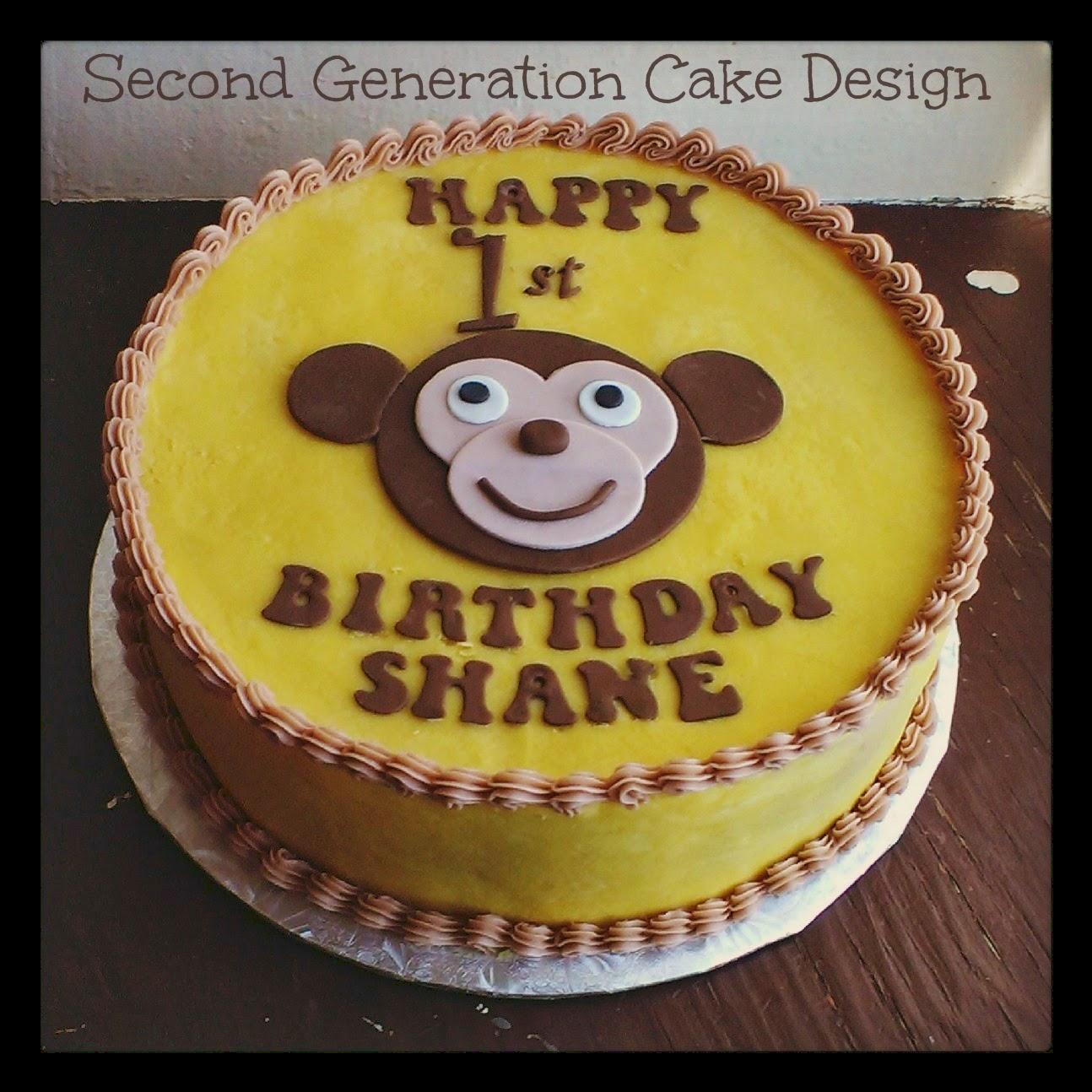 Second Generation Cake Design Monkey 1st Birthday Cake