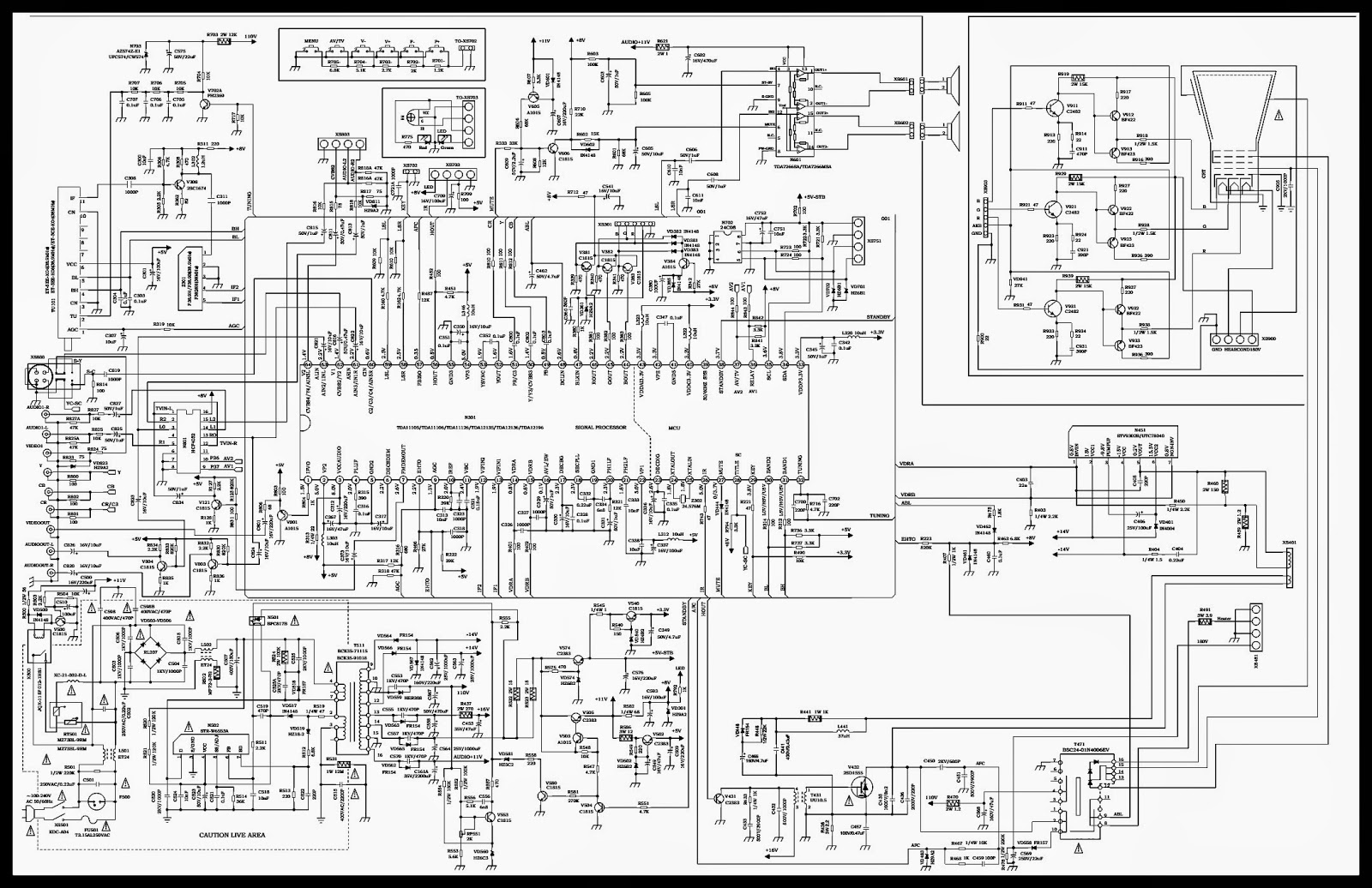 COLOR TV CIRCUIT DIAGRAM - TDA11105 - TDA11106 SIGNAL PROCESSOR ...
