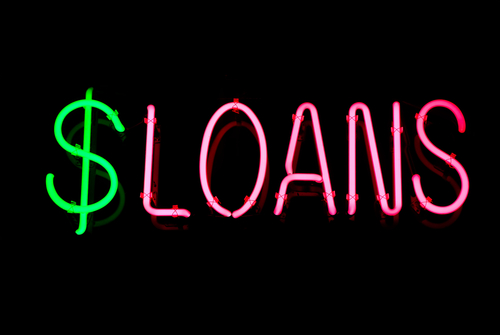Image of: neon sign that says loans with dollar sign.