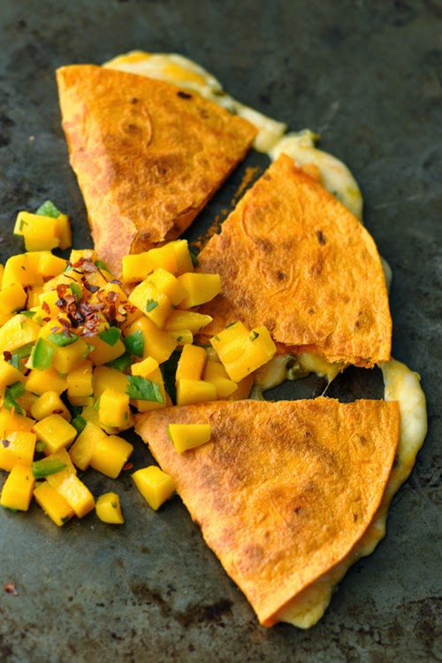Four Cheese Quesadilla with Homemade Mango-Jalapeno Salsa