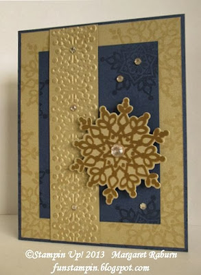Fun Stampin', Christmas card, Night of Navy, Brushed Gold and Gold embossing.