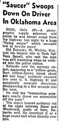 Saucer Swoops at Car - Daily Herald (Biloxi, MS) 7-30-1952