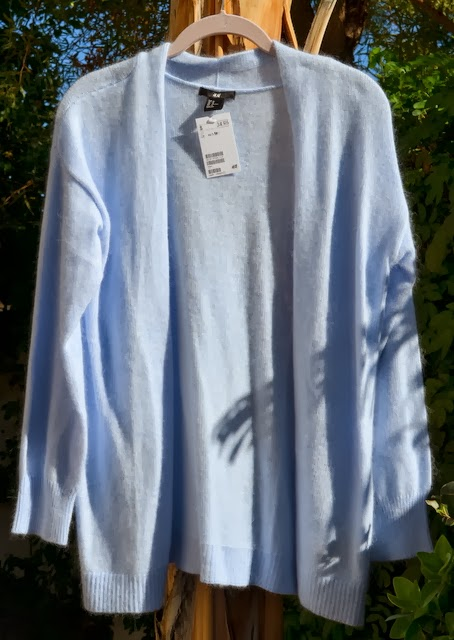 H&M baby blue long cardigan