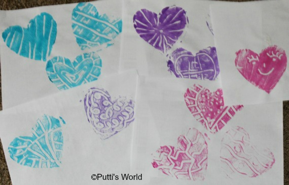 Print making with kids Valentine Heart Monoprints Styrofoam