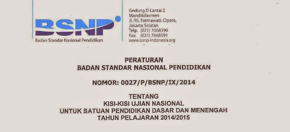 DOWNLOAD LENGKAP KISI KISI UN TAHUN PELAJARAN 2014 - 2015