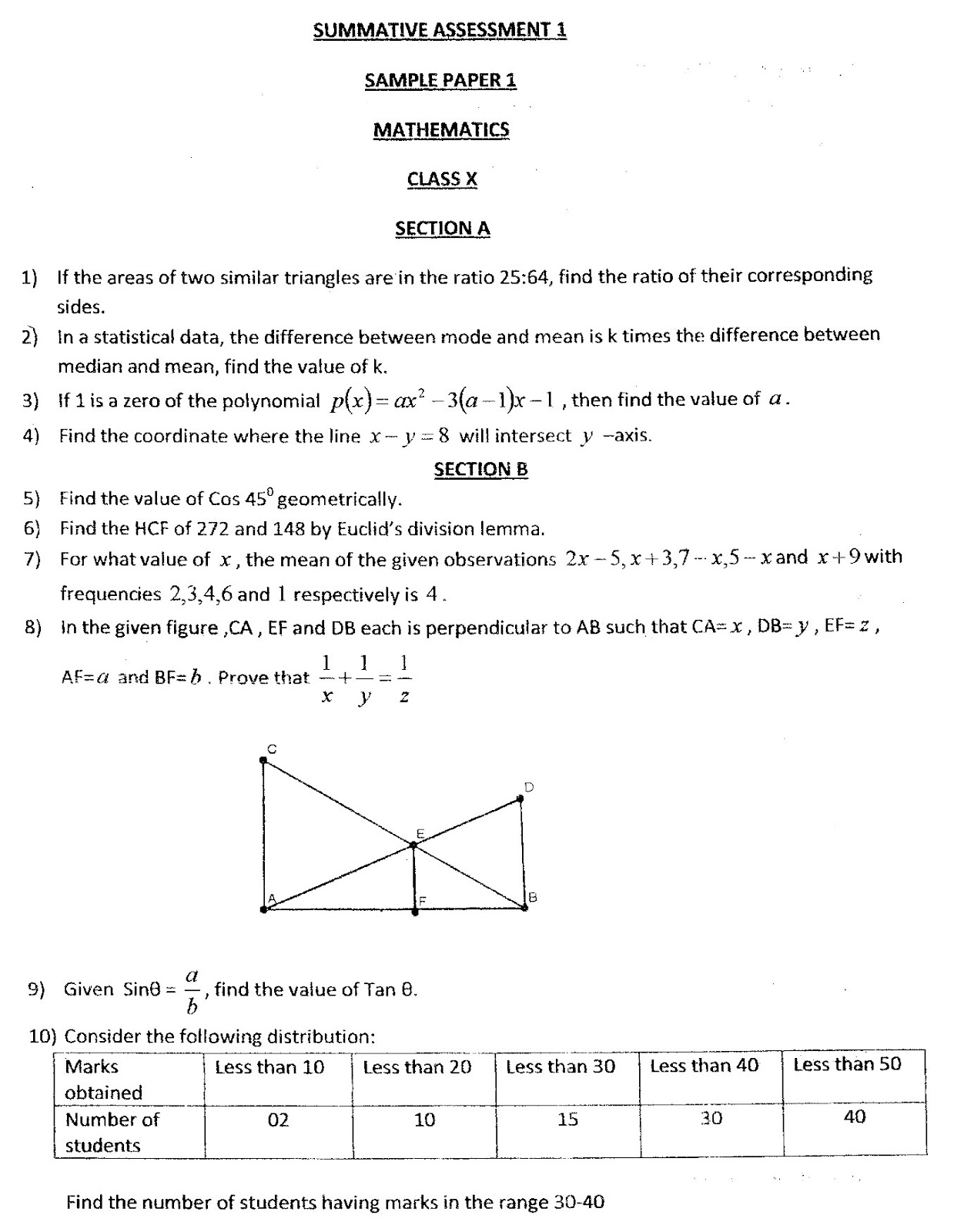Maths4all: Class X Delhi Public School RKPuram Sample Paper 1 SA1 ...