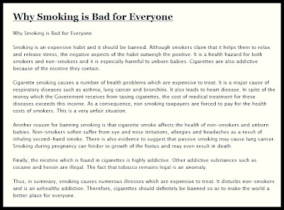 reasons why smoking should be banned Should smoking be banned in public places there are people who smoke and people who do not it is in public places that individuals from these groups inevitably meet and are forced to interact.