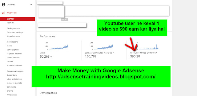 Youtube user ne apne keval 1 video se $90 earn kar liya hai Adsense ke madhyam se-see screenshot