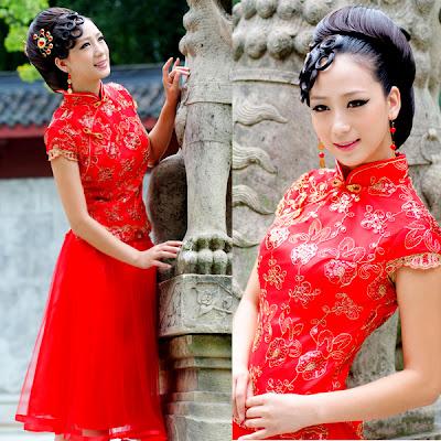 Vestidos de Noiva vermelho, Vestidos de Noiva oriental