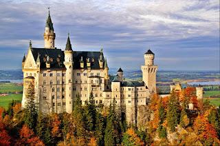 Castle Neuschwanstein in Bavaria, Germany in autumn