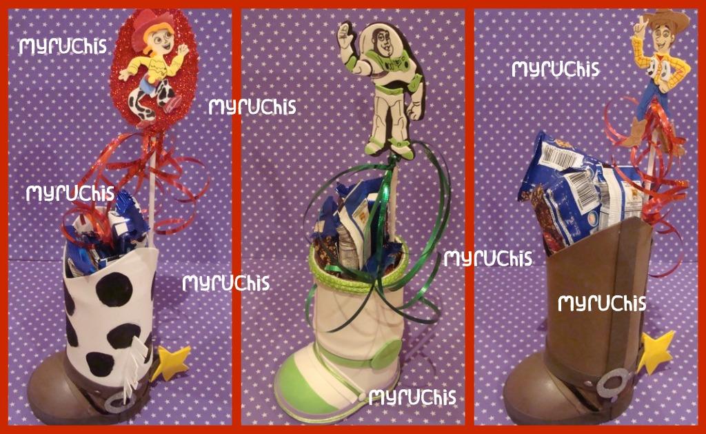 Dulceros. Originales en forma de bota de Jessi, Buzz y Woody.
