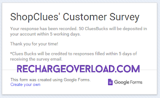 Shopclues customer survey for free 50 Rs cluesbucks