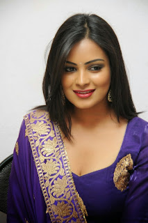 Akansha Extremely Beautiful Gorgeous pics in Purple Saree at Geetha movie Function