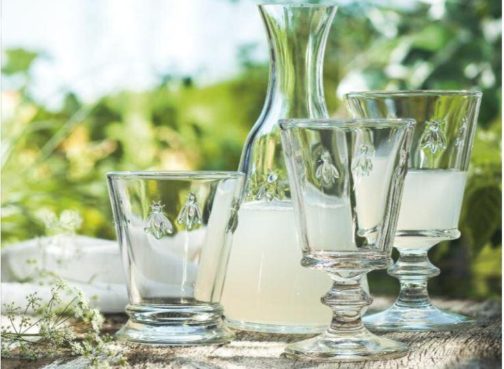 Fracuskie szkło La Rochere, szklanki z pszczółką , karafka szklana La Rochere