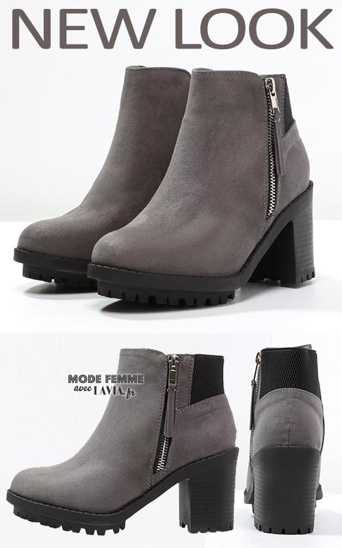 Boots à talons grises Newlook