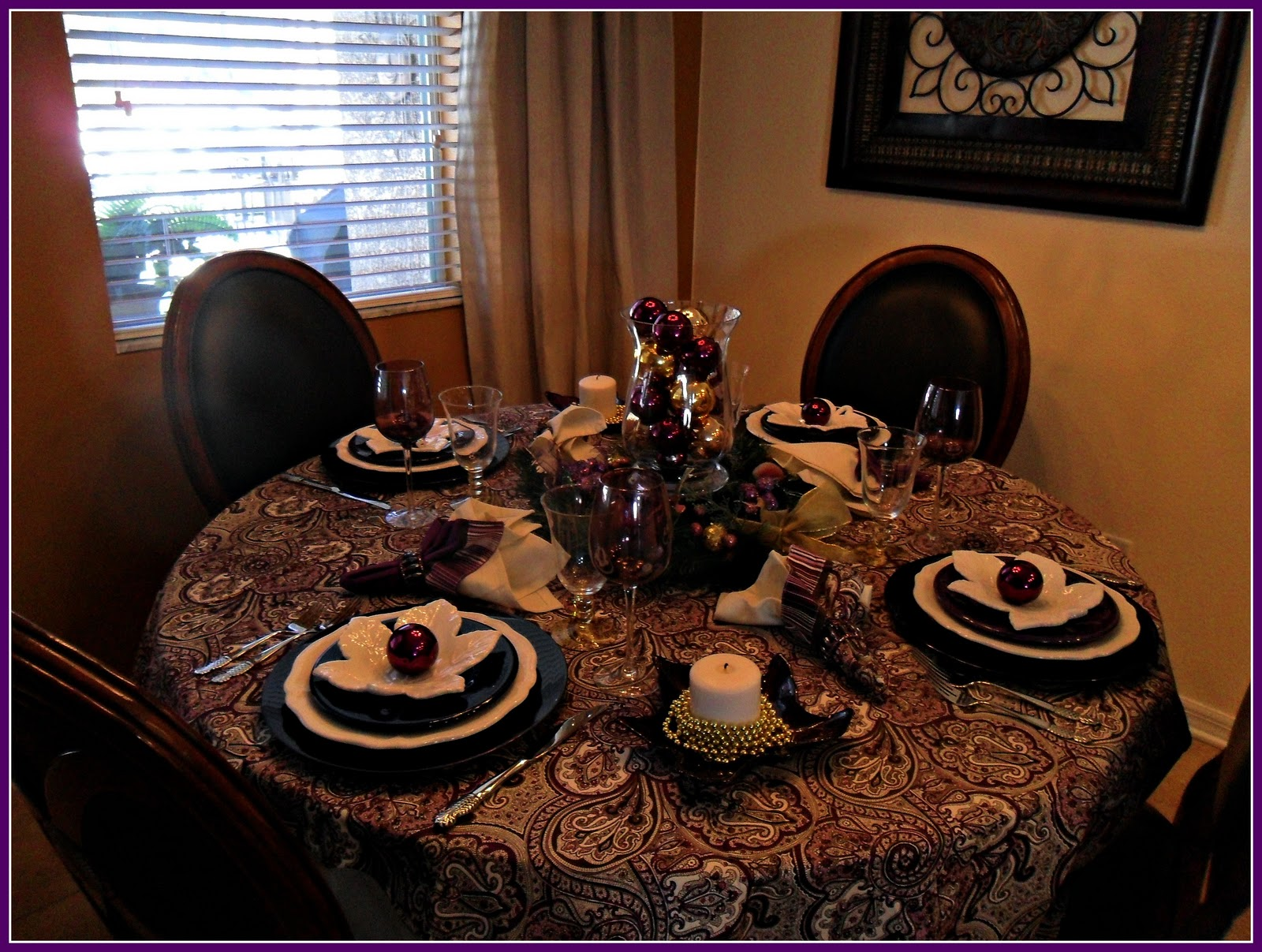 I Set My Great Room Table For Four. I Found These Purple Chargers At  Michaels (used My 30% Coupon On My Phone!). I Layered Them With My  Federalist Ironstone ...