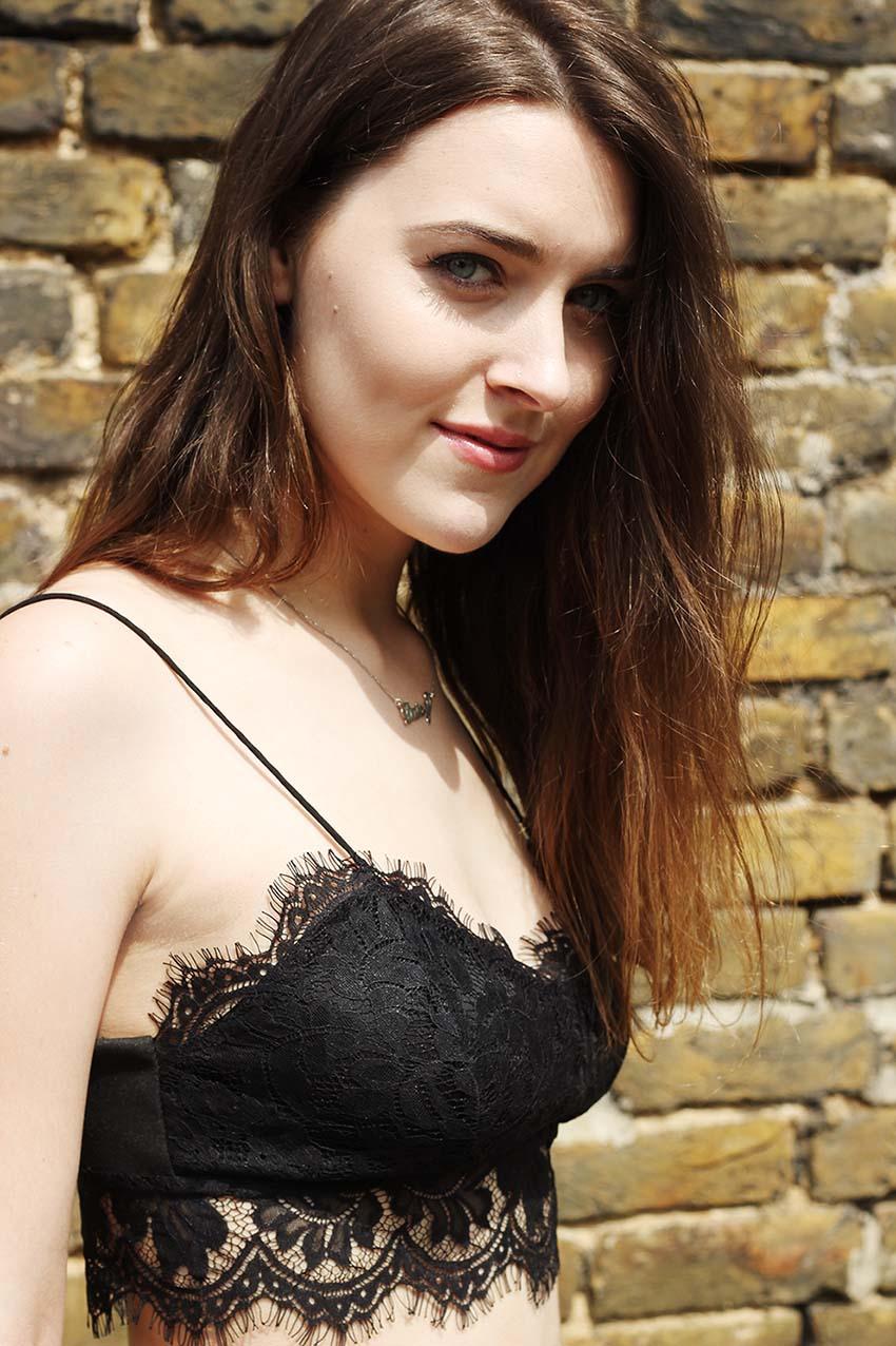 topshop black lace bralet