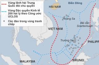 Bản đồ minh họa đường lưỡi bò của Trung Quốc