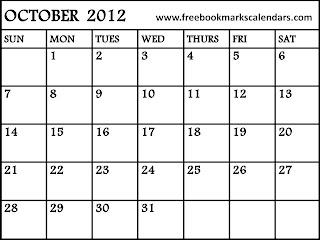 free-printable calendar october 2012