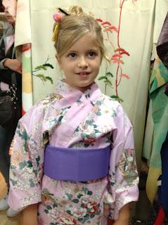 Pink kimono on little girl Kimono House NY