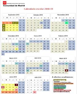 Calendario escolar curso 18/19