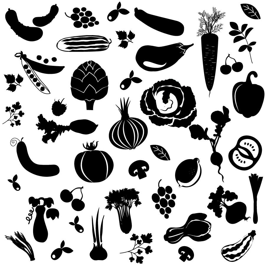 種類が多い野菜のシルエット Silhouettes Big set of vegetables イラスト素材