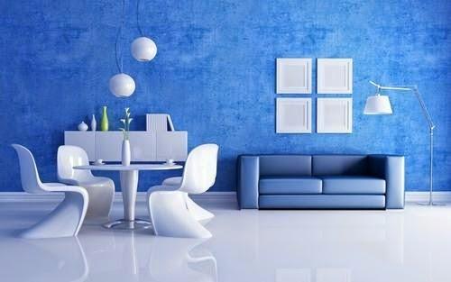 desain interior rumah berwarna biru