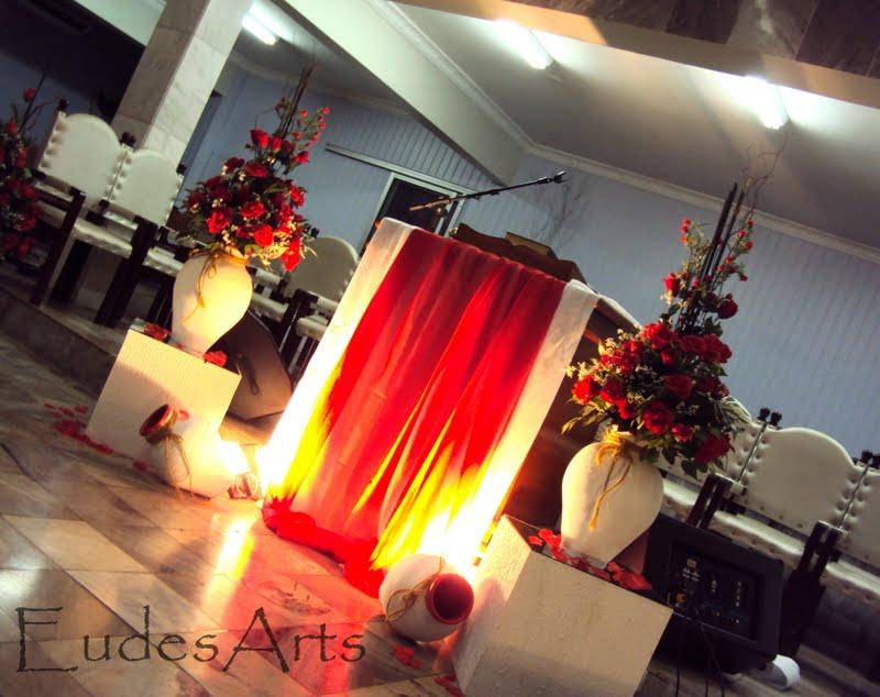 Eudes Arts Desing de Eventos Decoraç u00e3o Vermelha Festividade de Igreja Evang  -> Decoração Simples Para Festividade De Igreja Evangelica
