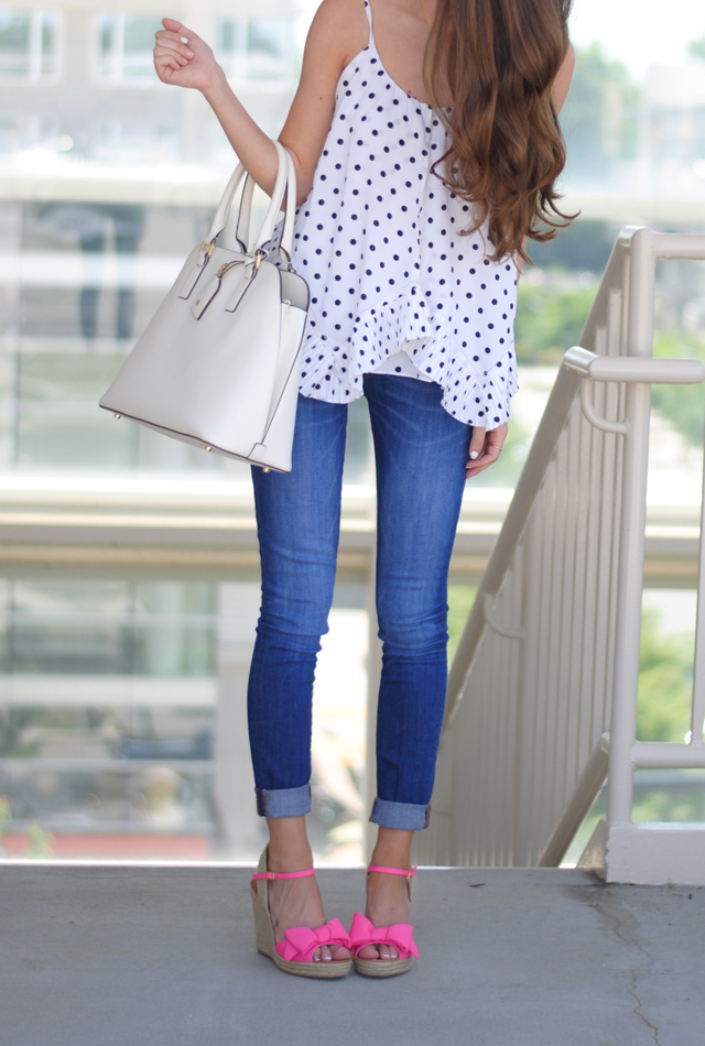 Black and white polka dots paired with pink bow shoes