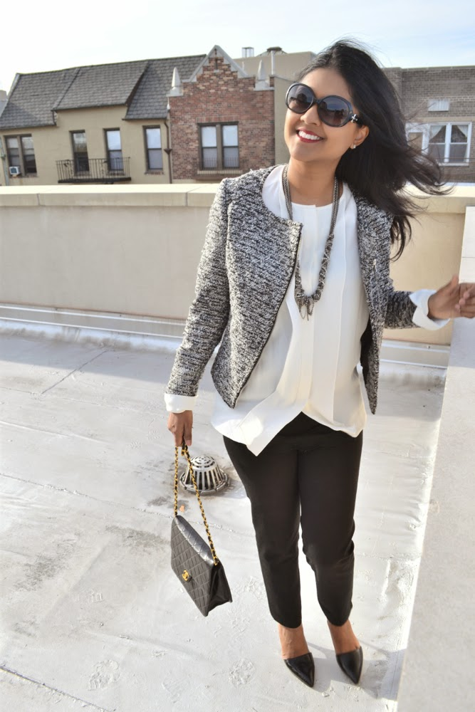 Chanel vintage purse white blouse black pants tweed jacket