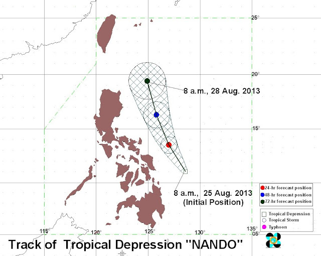 Tropical Depression (Typhoon) Nando August 2013 track