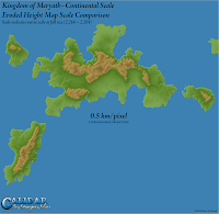 Kingdom of Meryath, Calidar, Eroded Height Map Continental Scale, Stereographic Projection