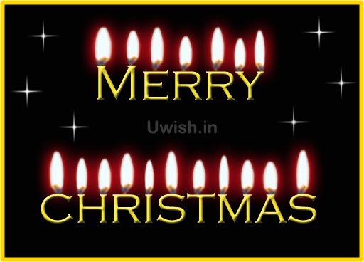 Merry Christmas wishes and greetings with candles