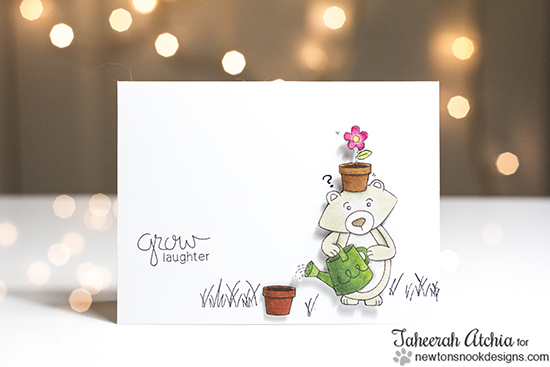 Grow Laughter Bear Garden card by Taheerah Atchia | Garden Whimsy | Garden Stamp Set by Newton's Nook Designs