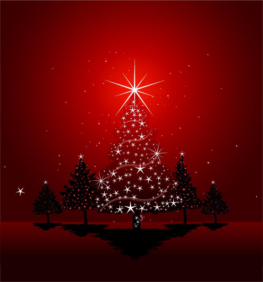 Free Vector がらくた素材庫 真紅のクリスマス ツリーとハンギング ボール Beautiful