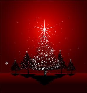 真紅のクリスマス ツリーとハンギング ボール beautiful christmas ball background vector イラスト素材1