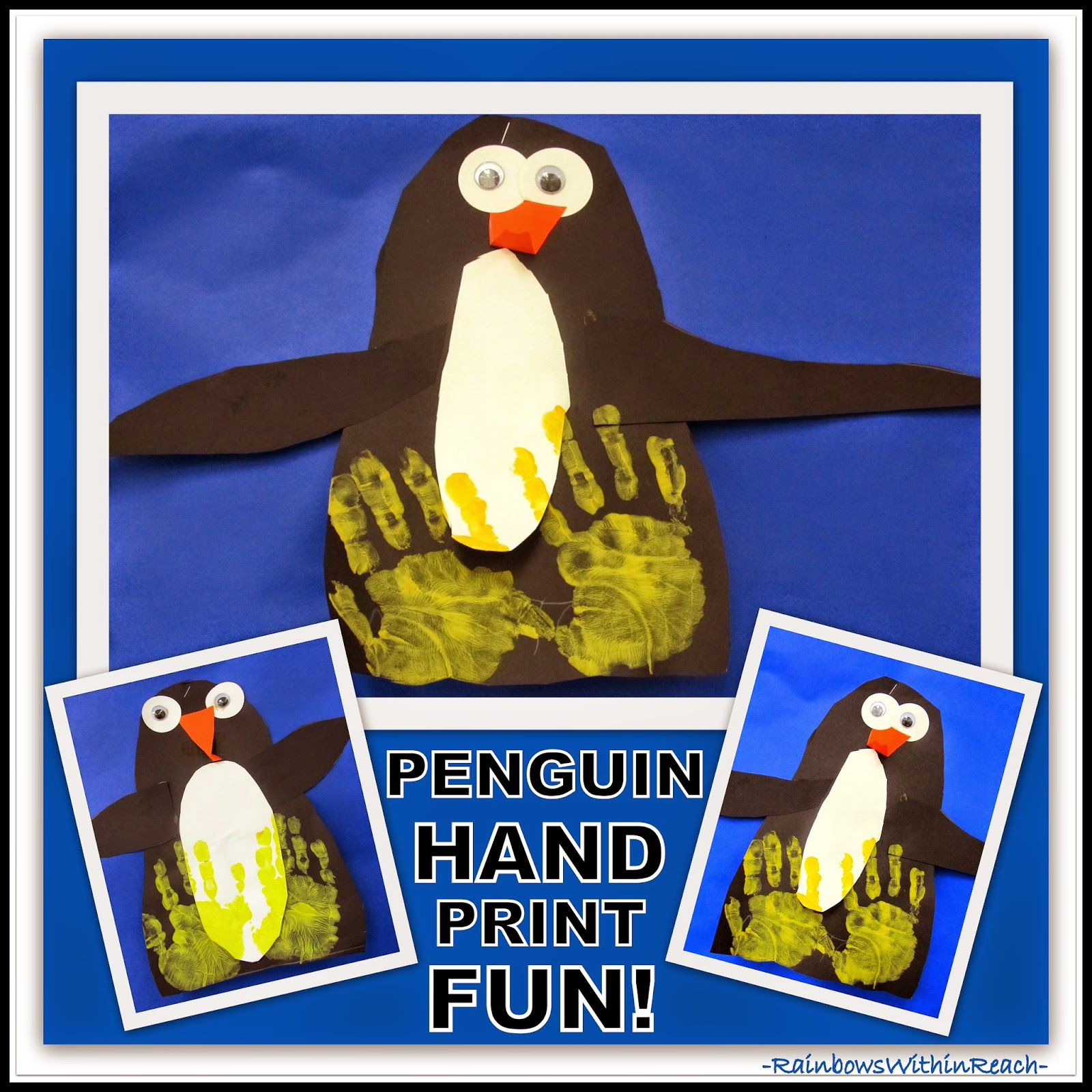 "Penguins with Painted Hand Prints {from ""Hand"" RoundUP at RainbowsWithinReach}"