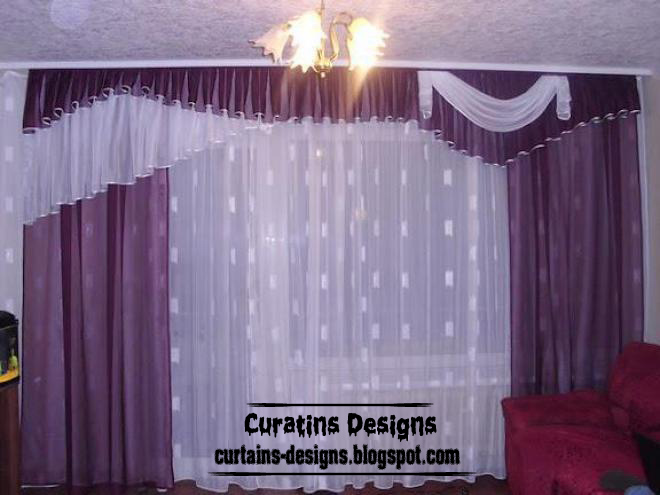 Contemporary Curtain, Purple, White Curtain With Crushed Valance, Embossed  Fabric