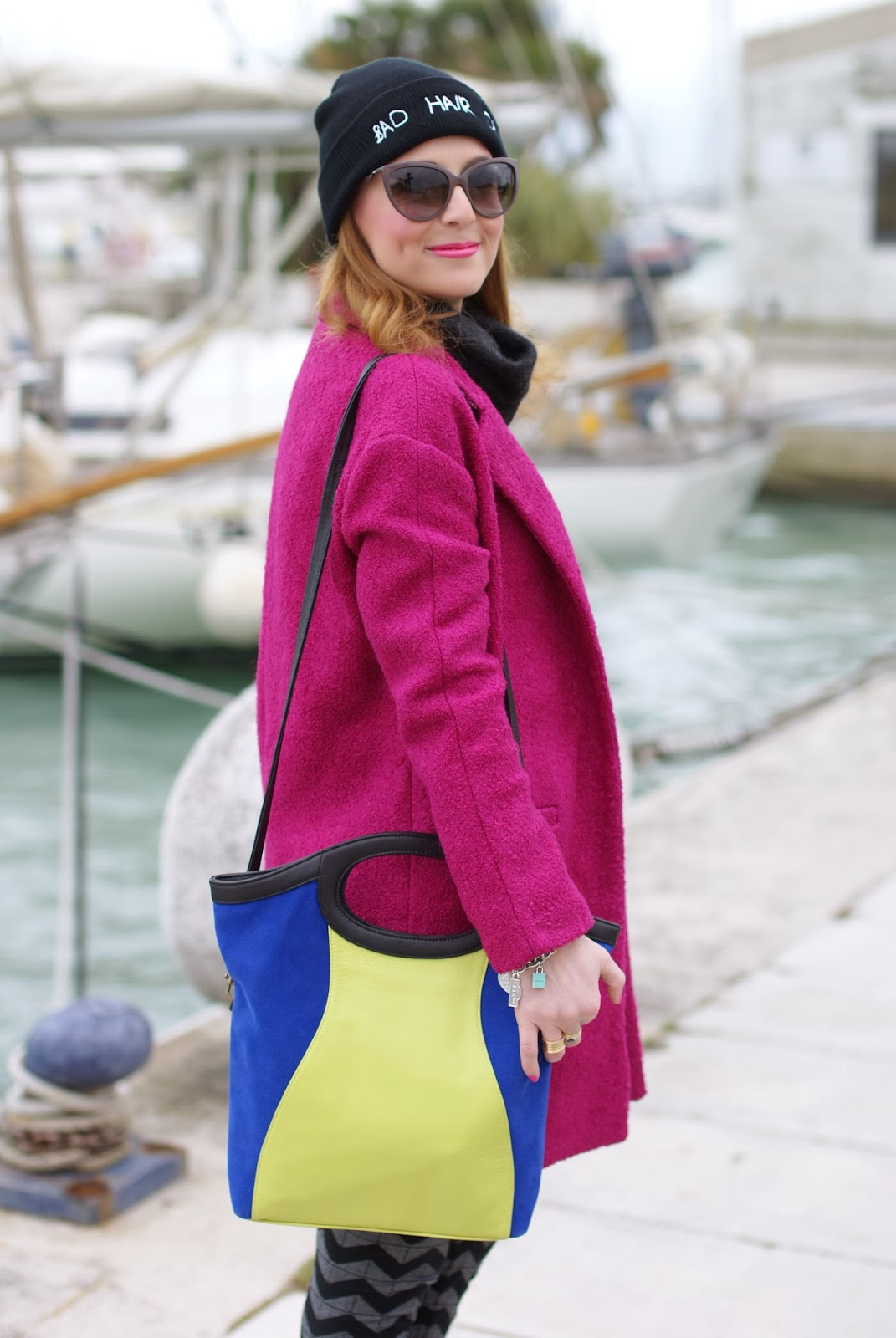 persunmall fuchsia coat, color block bag, Fashion and Cookies, fashion blogger