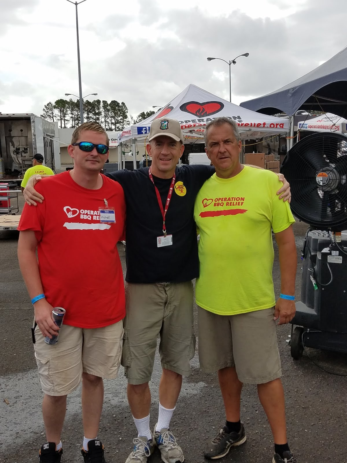 Thomas Q Kimball of Ridgefield, Connecticut meeting up with two of the Operation BBQ Relief staff