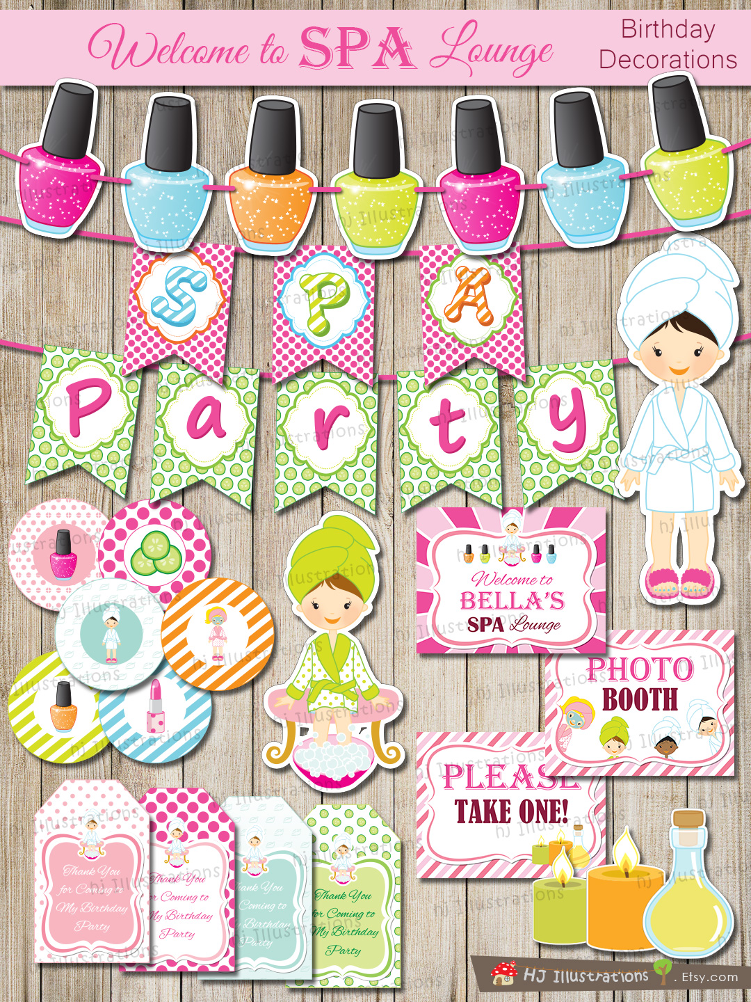 SPA Birthday Party Printable Package