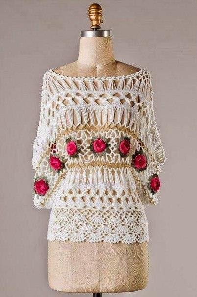 Blusa elegante tejida al crochet y horquilla | Crochet y Dos ...