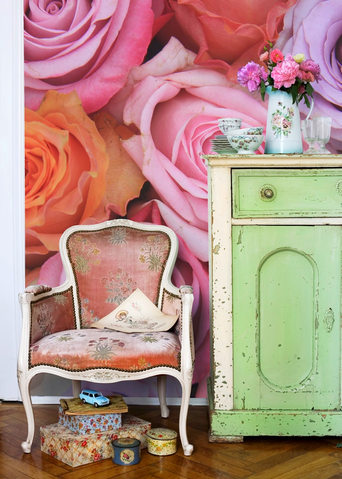 Pastel Roses - Wall Mural by PIXERS