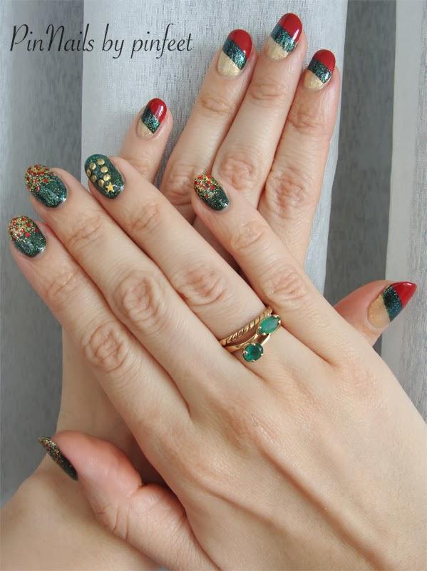 Uñas de Navidaden franjas y verde x 2