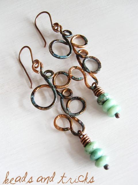 orecchini rame e turchese con patina blu