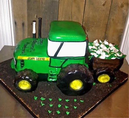 Sweet Ts Cake Design John Deere Tractor with Wooden Cart of Sweet