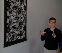 Phil Ponce and his Tyvek paper art wall hanging